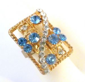Large Brutalist Style Rhinestone Statement Ring.